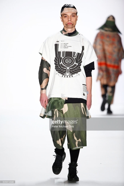 A model walks the runway at the Sadak show during the Mercedes-Benz Fashion Week Berlin Autumn/Winter 2016 at Brandenburg Gate on January 19, 2016 in Berlin, Germany.