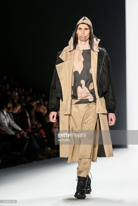 BERLIN, GERMANY - JANUARY 19: A model walks the runway at the Sadak Show - Mercedes-Benz Fashion Week Berlin Autumn/Winter 2016 on January 19, 2016 in Berlin, Germany. (Photo by Isa Foltin/WireImage)